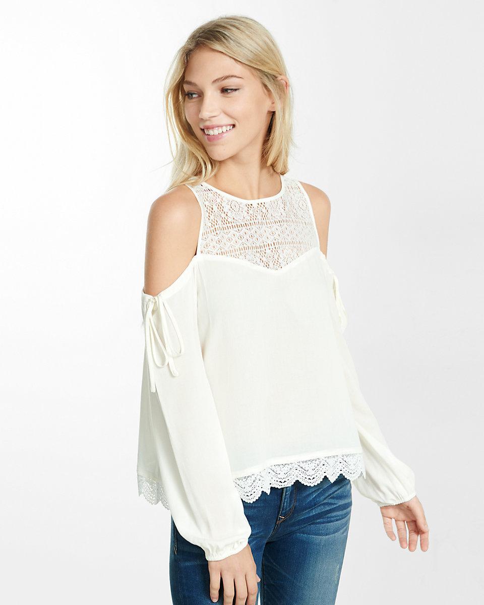 lyst express lace yoke cold shoulder blouse in white. Black Bedroom Furniture Sets. Home Design Ideas