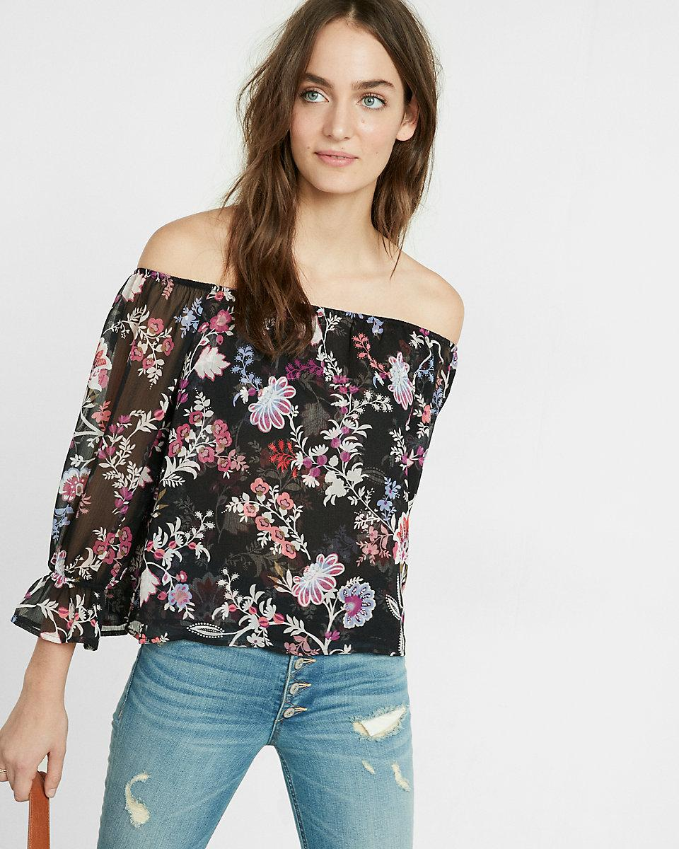 express floral print off the shoulder abbreviated blouse. Black Bedroom Furniture Sets. Home Design Ideas
