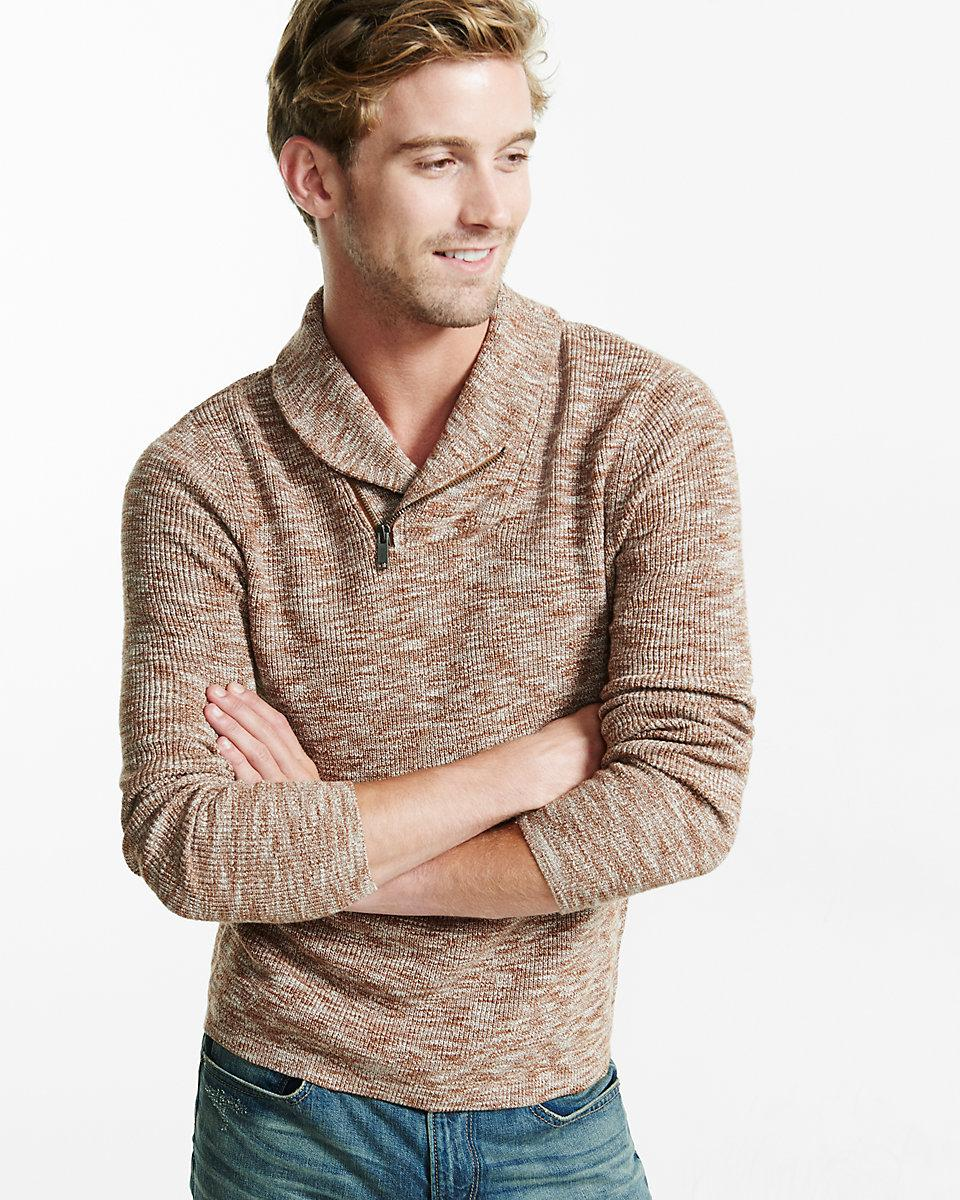 Marled Cotton Zip Shawl Collar Sweater