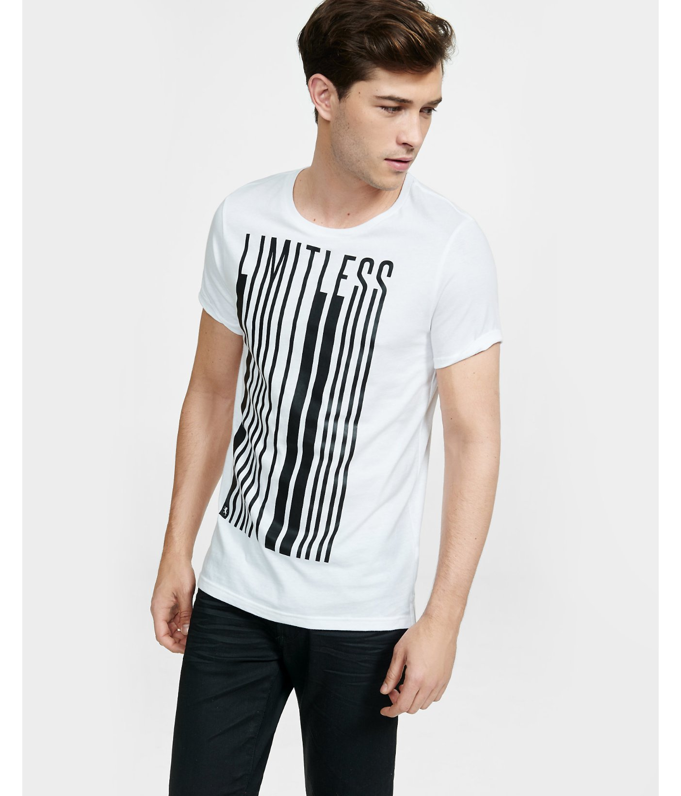 Express Limitless Stretch Graphic T Shirt In White For Men