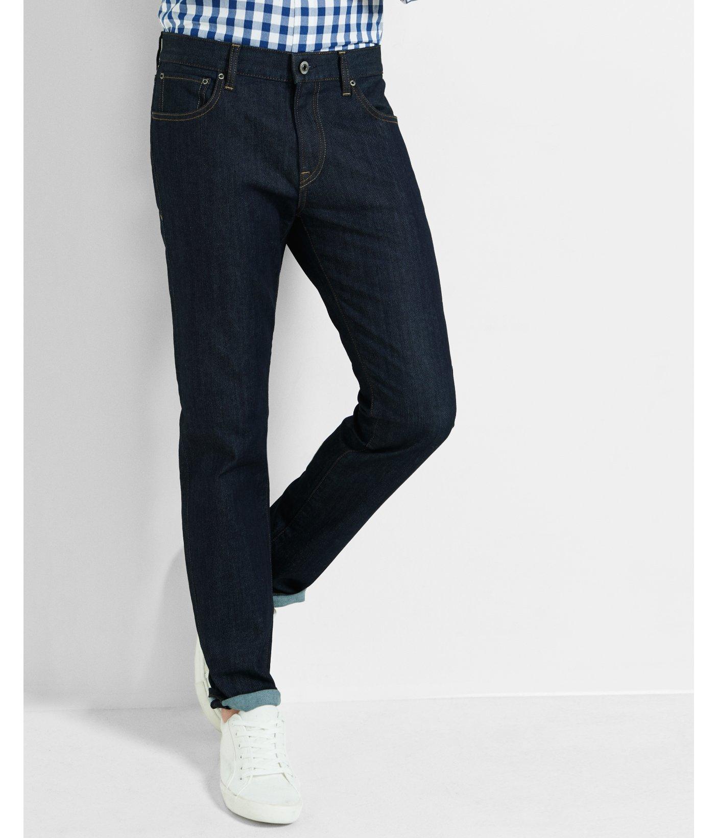 express slim fit rocco dark stretch slim leg jean in blue. Black Bedroom Furniture Sets. Home Design Ideas