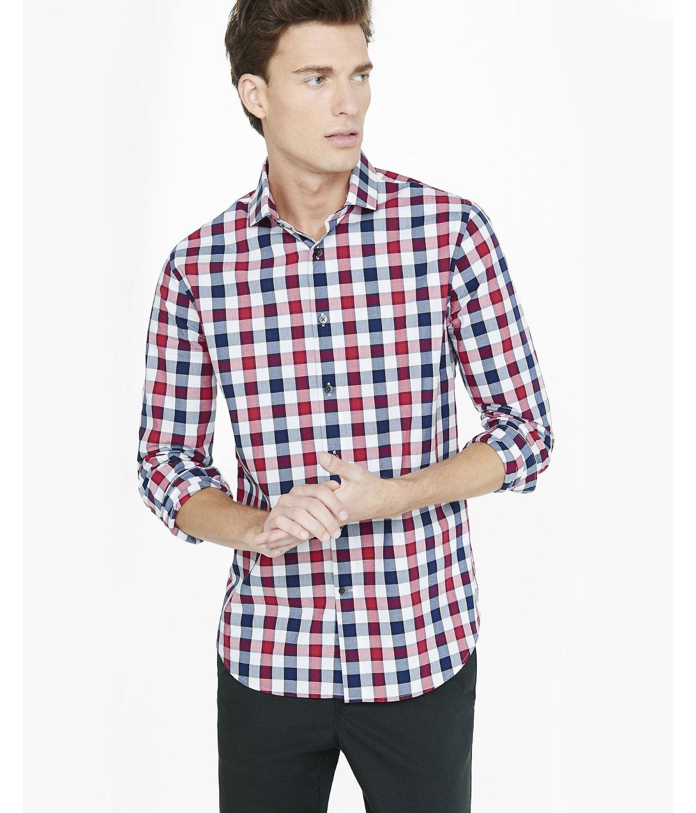 Lyst express modern fit small check dress shirt for men for Modern fit dress shirt