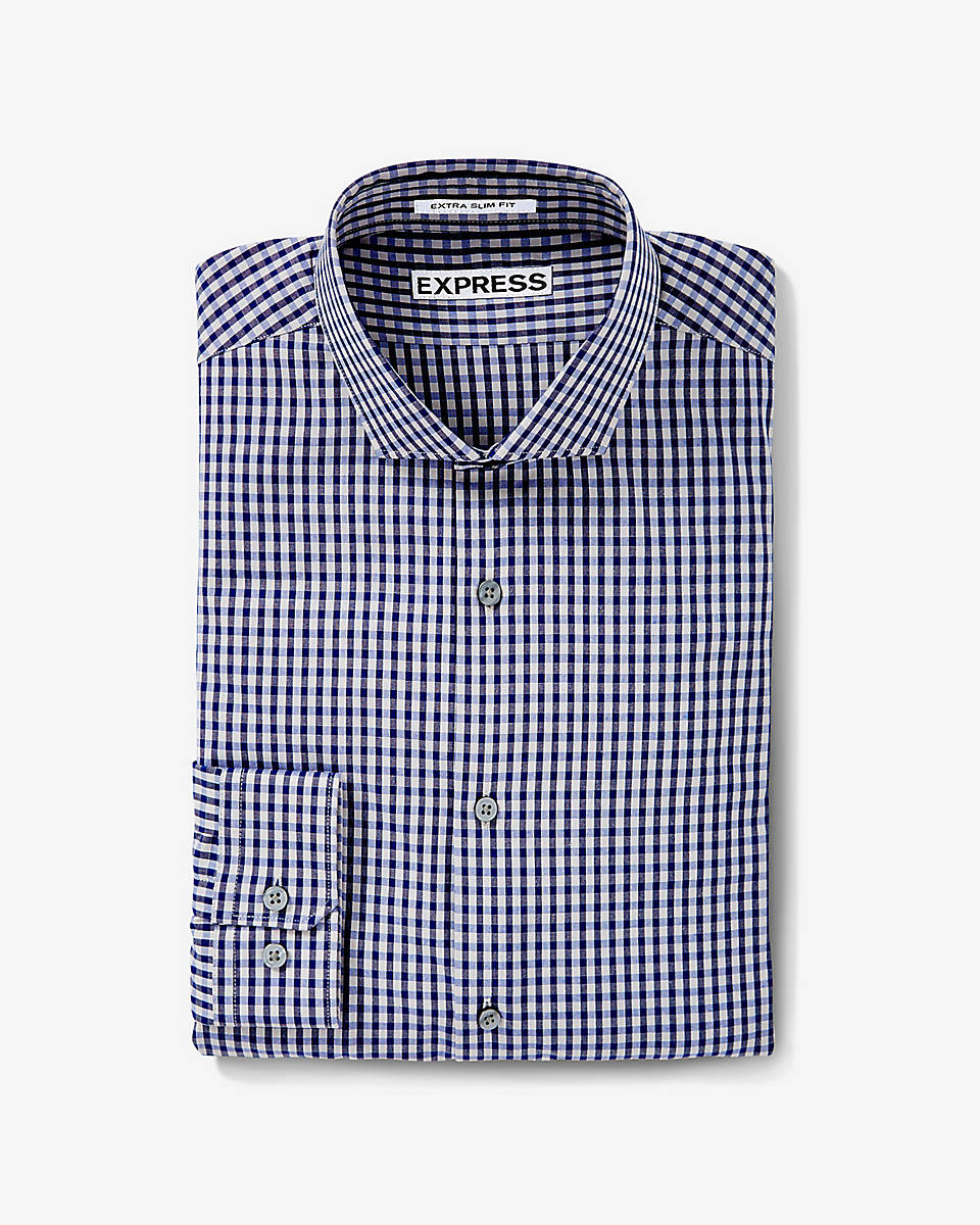 Express Slim Small Check Dress Shirt In Blue For Men Gray