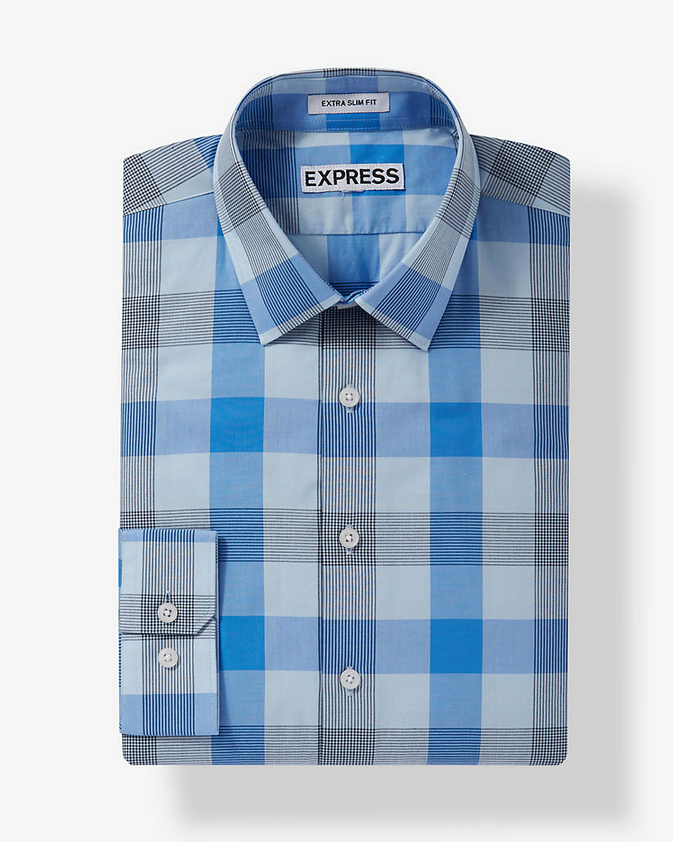 Express extra slim check dress shirt in blue for men lyst for Blue check dress shirt