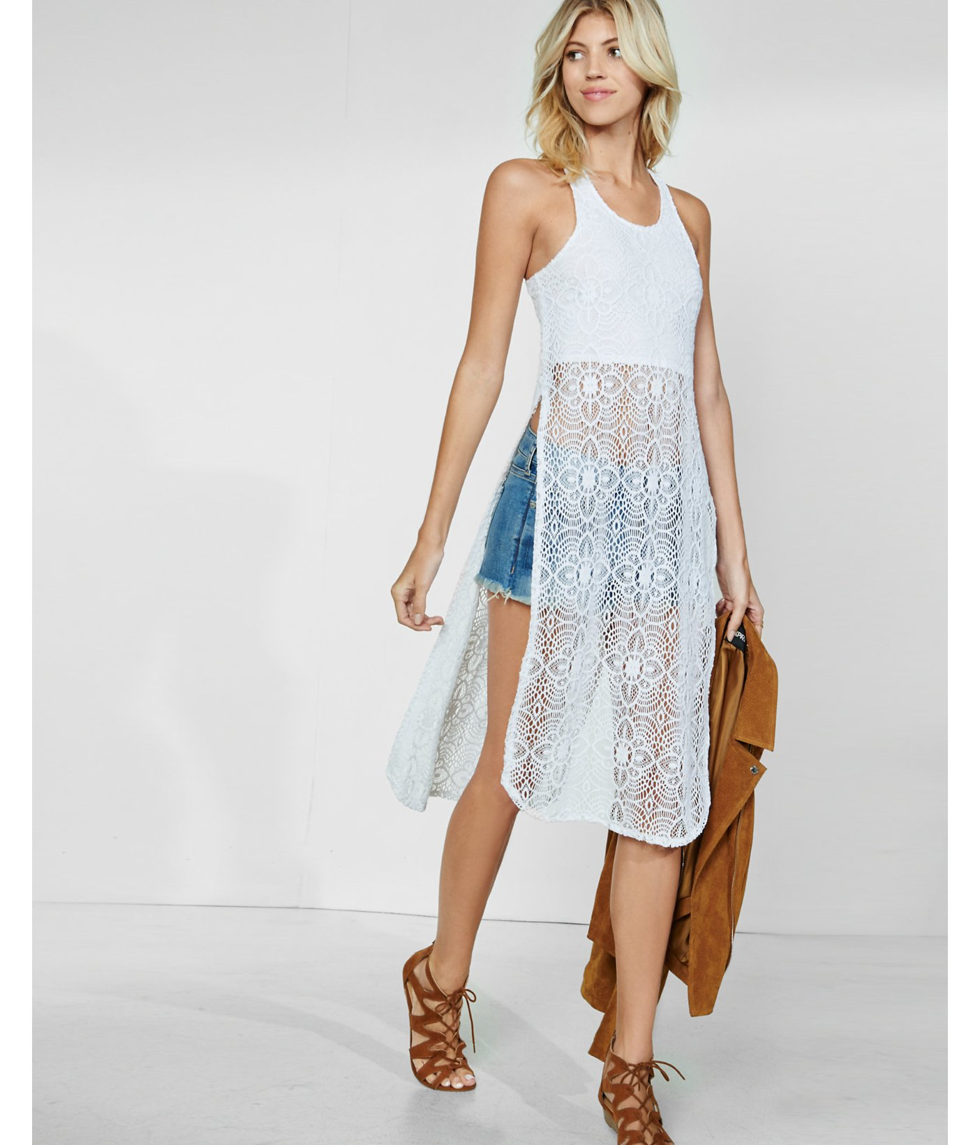Express Crocheted Lace Long Extreme Side Slit Tank In