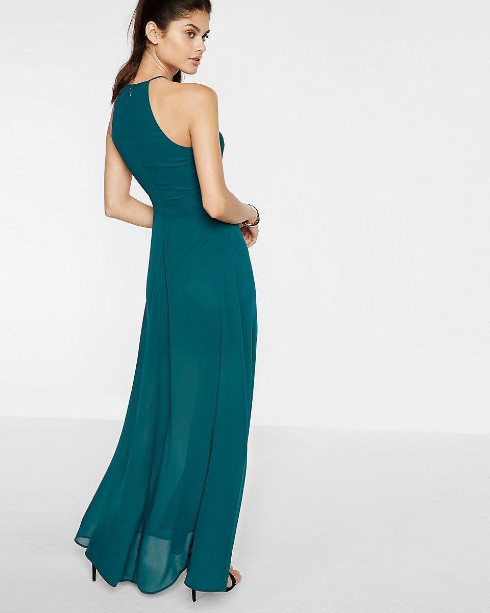 Lyst - Express Chiffon Halter Maxi Dress in Green