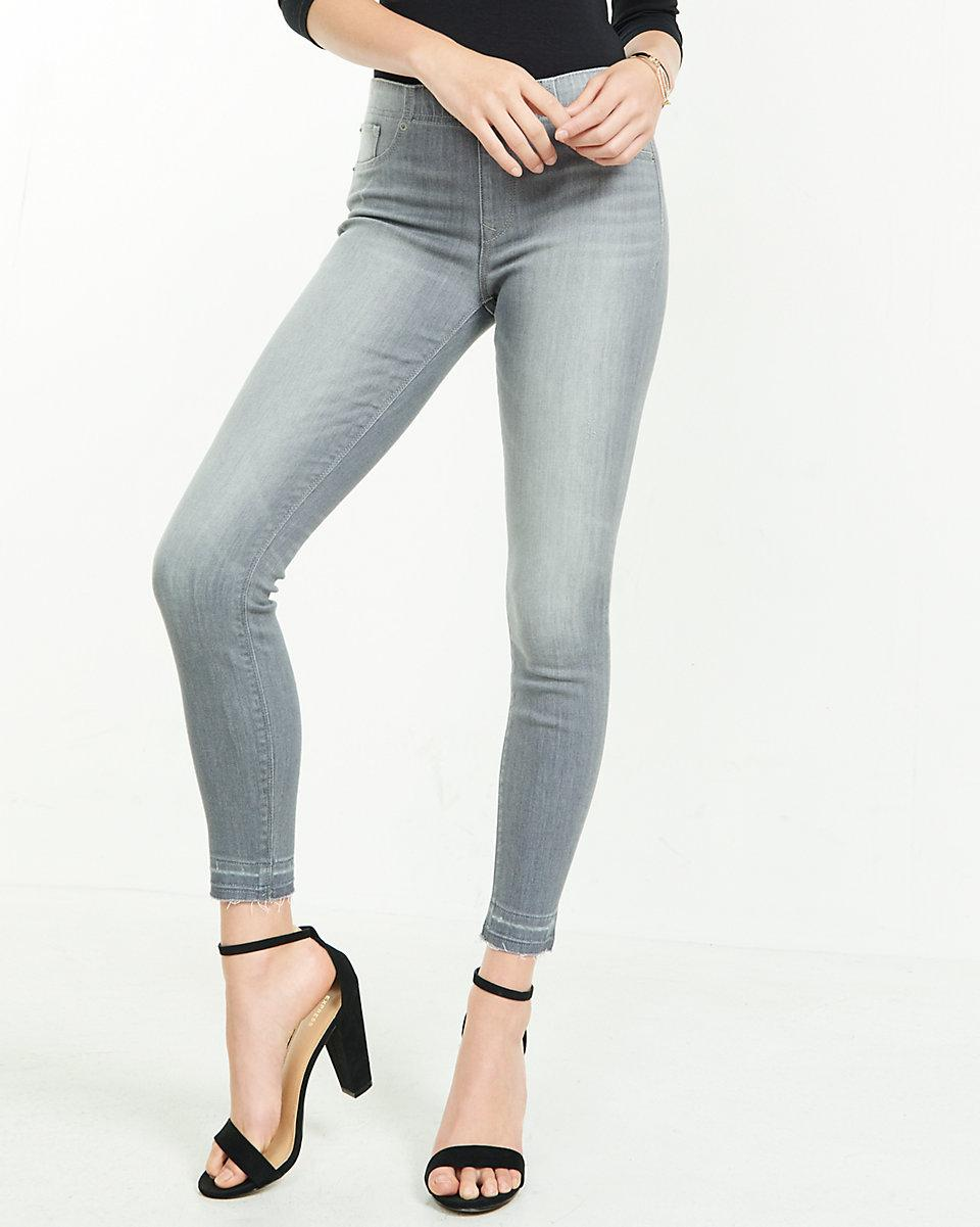 Lyst - Express Mid Rise Pull-on Released Hem Jean Leggings ...