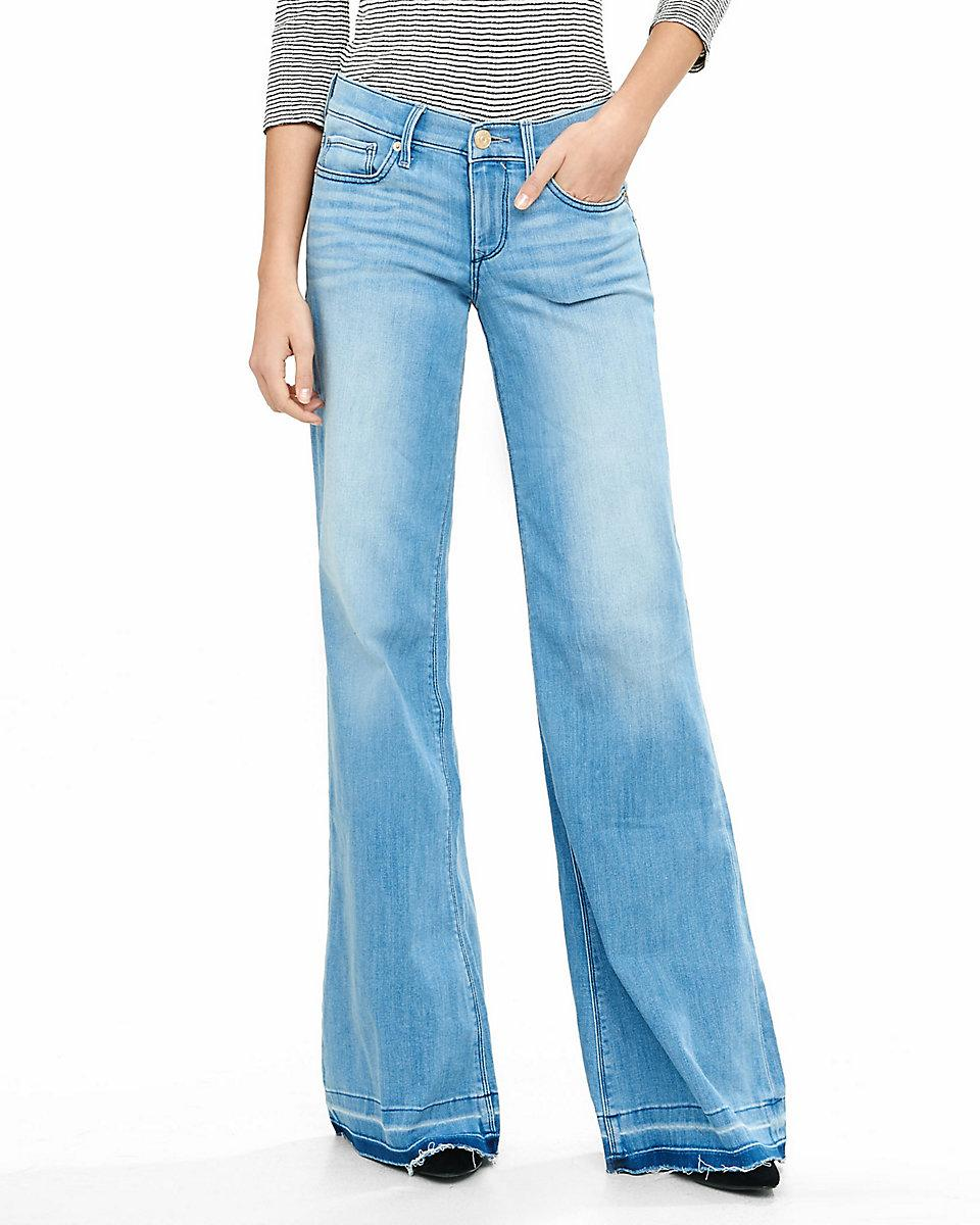 Express mid rise released hem wide leg flare jean in blue for Express wash roma