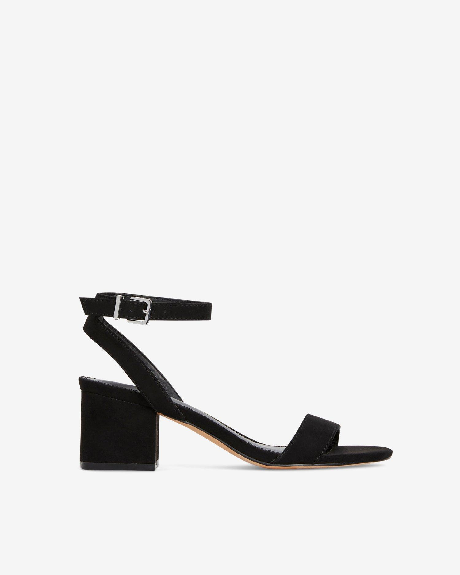 b020eb19d4 Express Faux Suede Low Block Heeled Sandals Black in Black - Save 32 ...