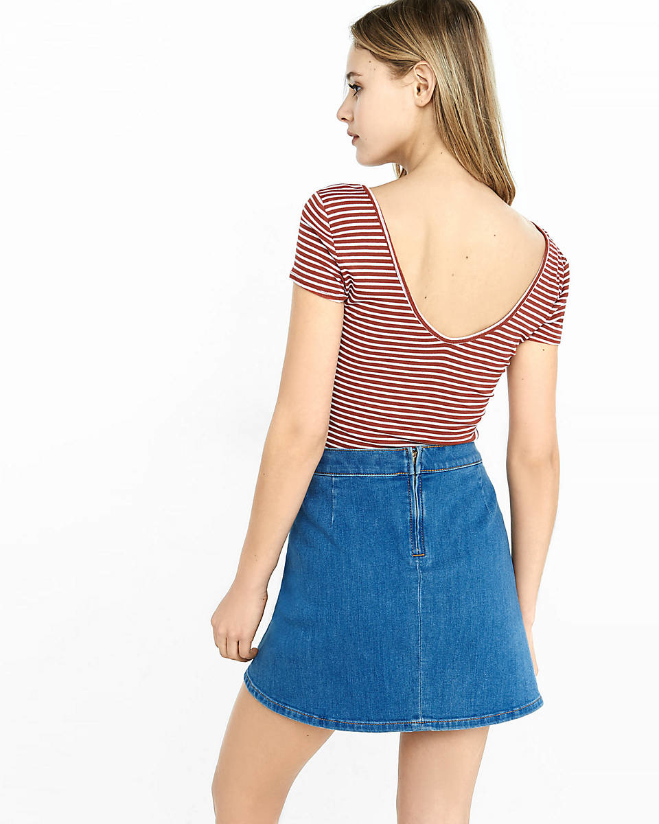 express high waisted denim a line mini skirt in blue lyst