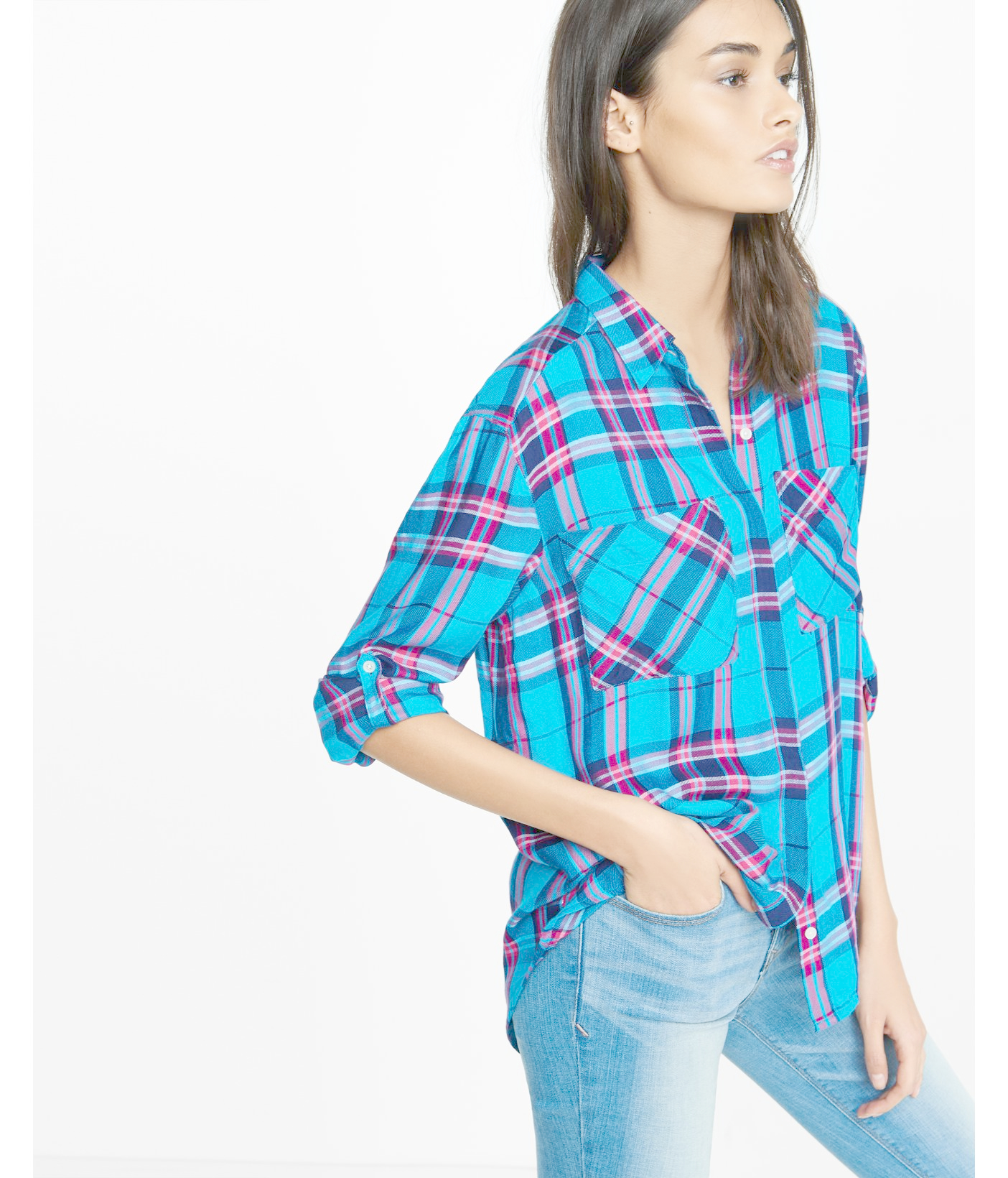 Express blue plaid oversized boyfriend shirt in blue lyst