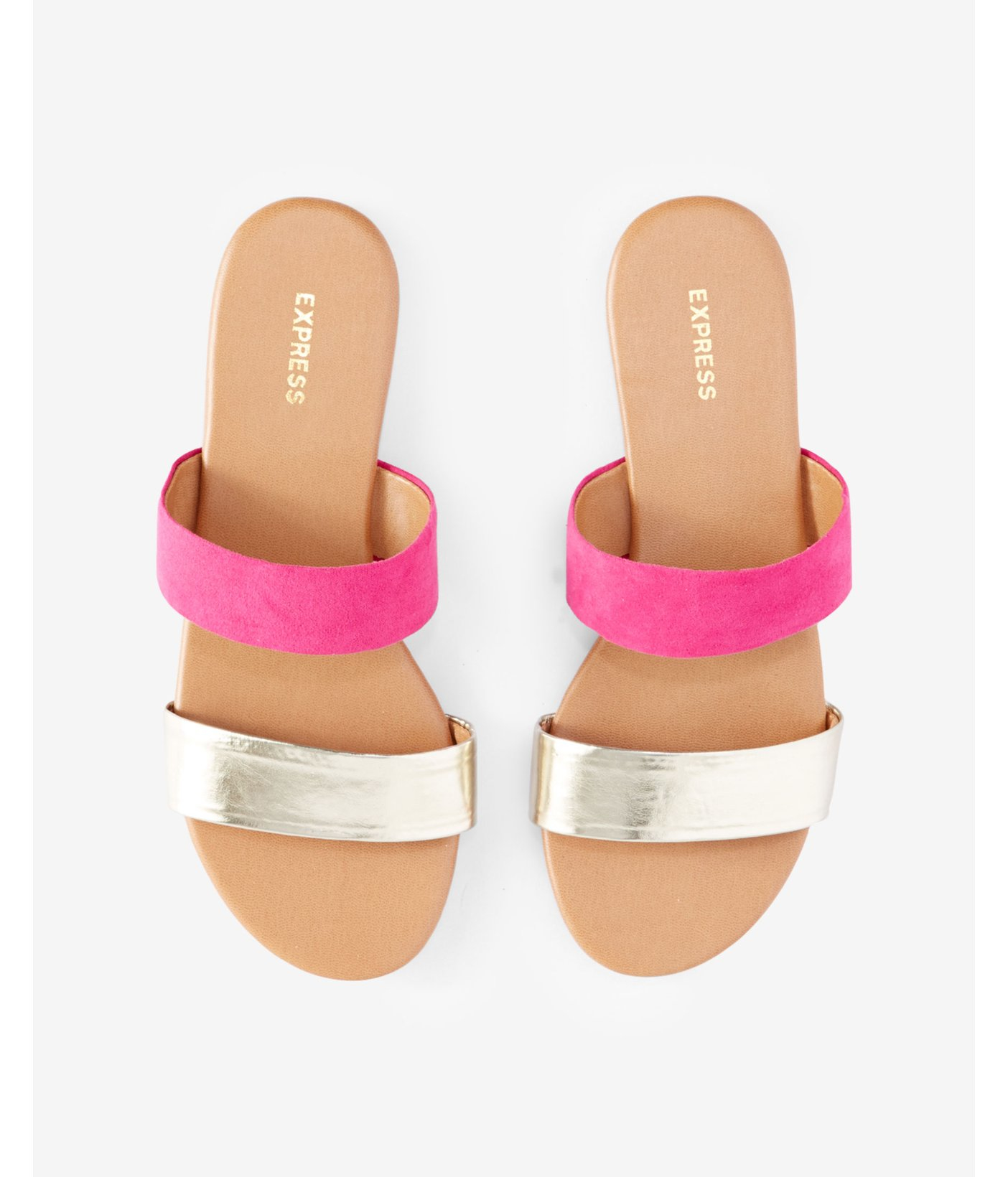 Express Two Strap Slide Sandals In Metallic Lyst