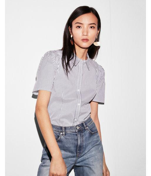 Express Striped Puff Shoulder Button Up Shirt In Blue Lyst