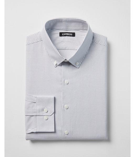 Lyst express extra slim striped button collar dress for Extra slim tuxedo shirt