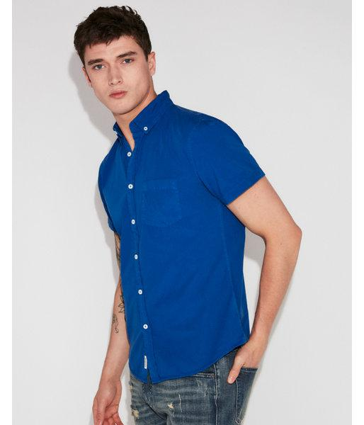 1954dd1e7588 Express Slim Garment Dyed Button-down Short Sleeve Shirt in Blue for ...