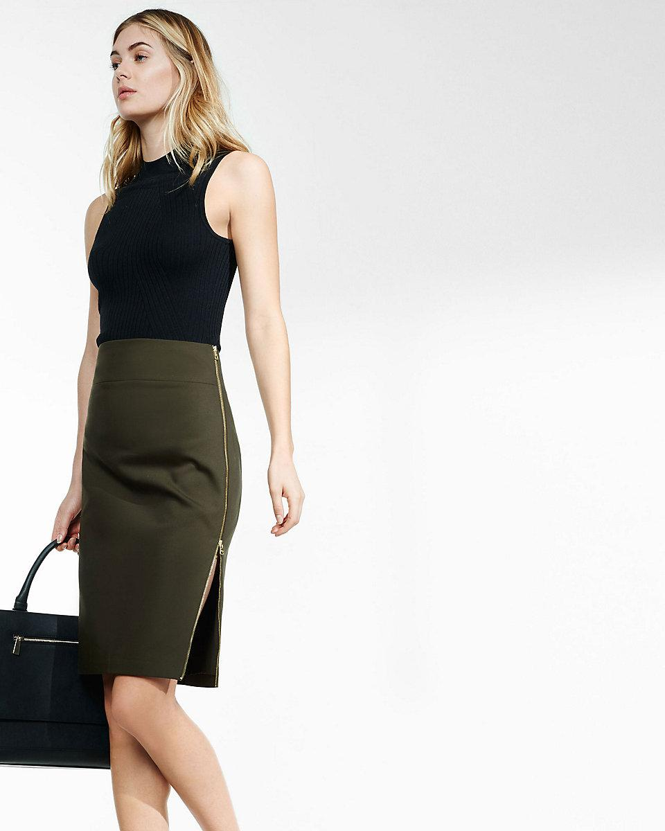 fb0a75ec8cdf Lyst - Express Side Zipper Midi Pencil Skirt in Green