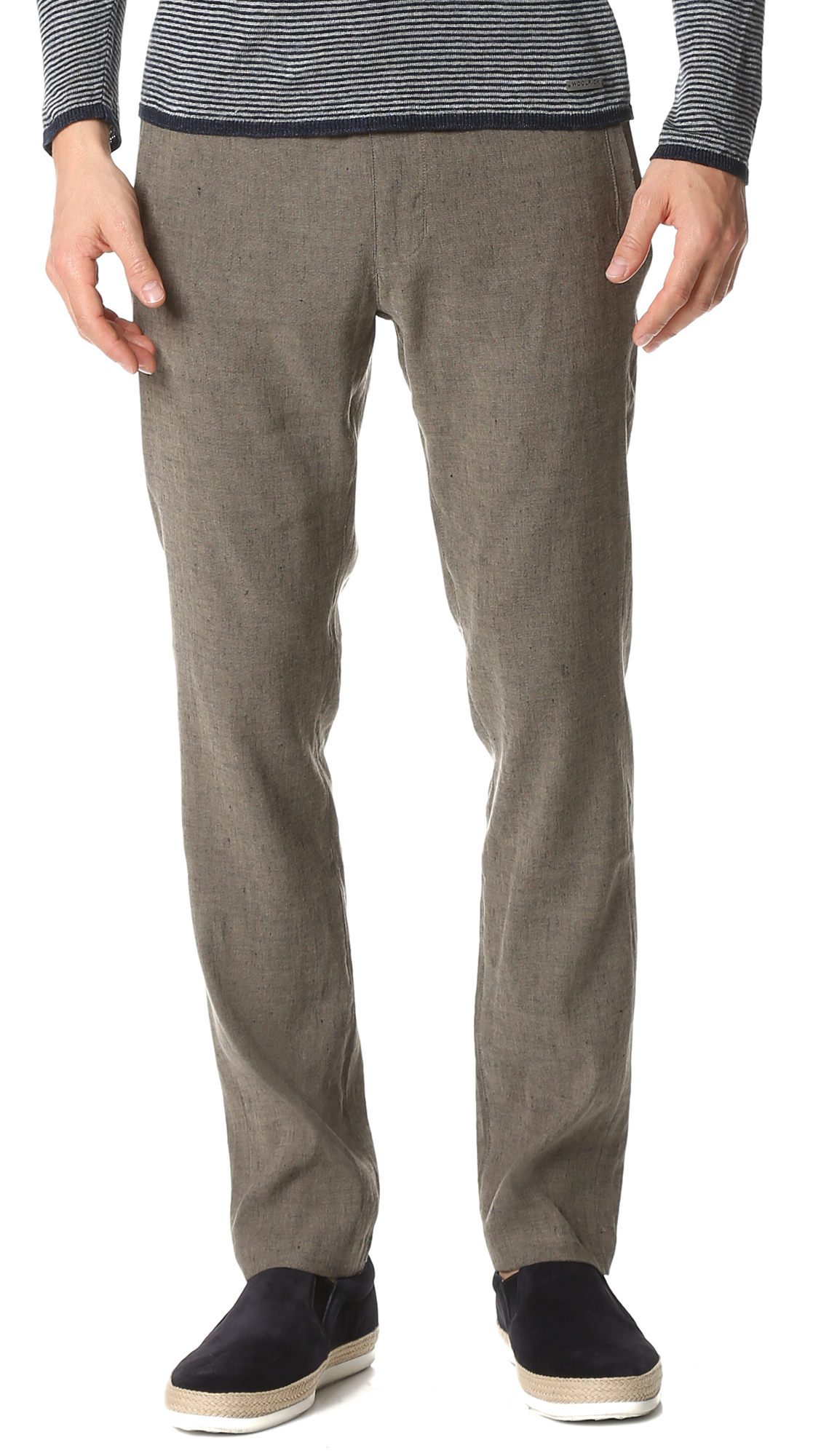 Woolrich Linen Pants in Gray for Men | Lyst