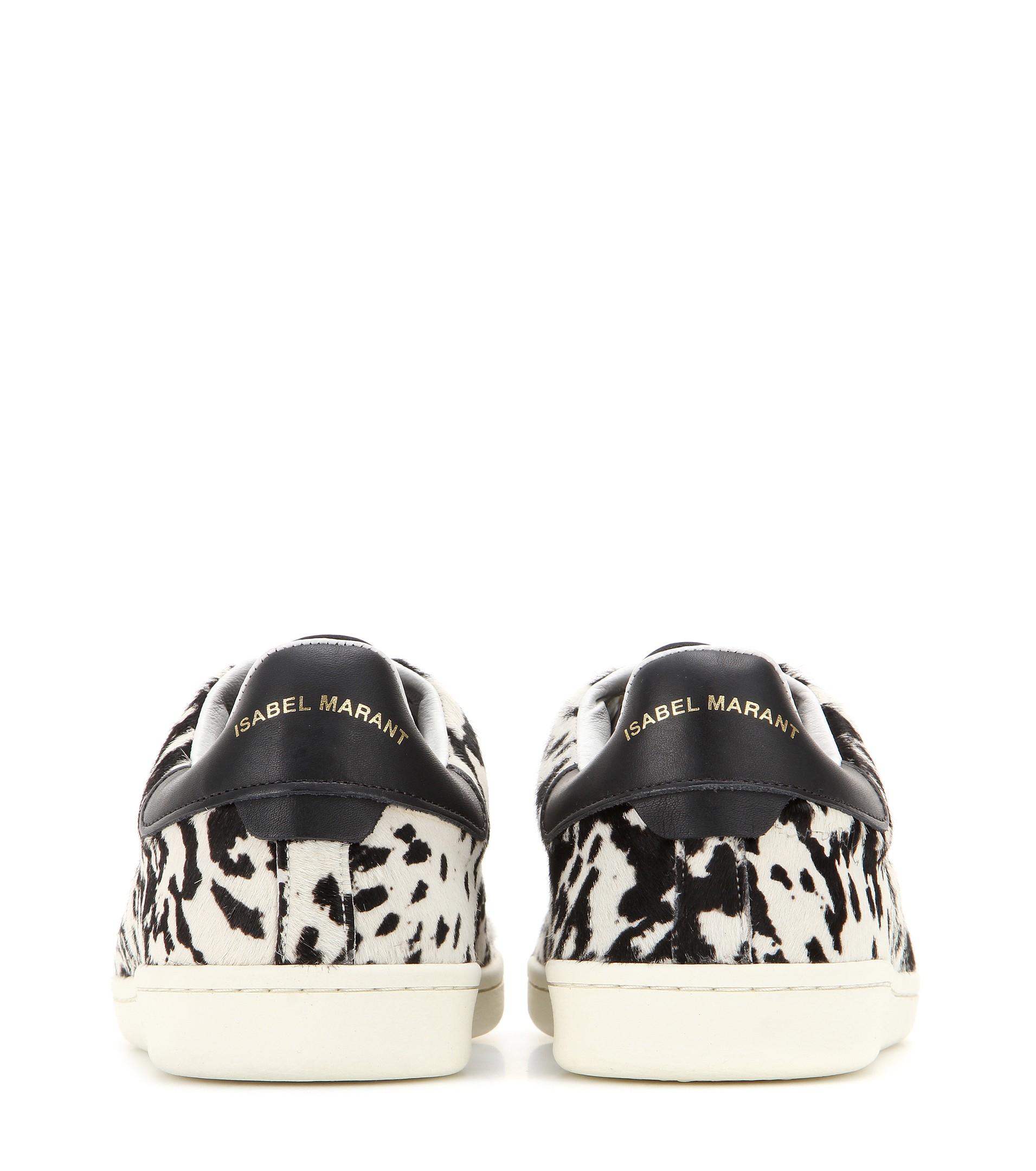 5fff2c19ea34 Isabel Marant Étoile Bart Calf Hair Sneakers in Black - Lyst