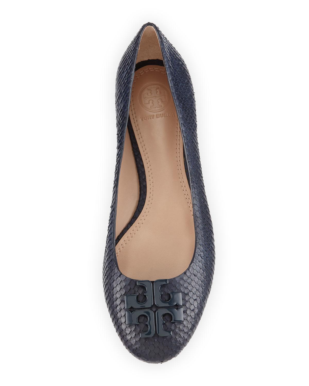 de8b0e9283a Lyst - Tory Burch Lowell 2 Snake-Embossed Ballet Flats in Blue