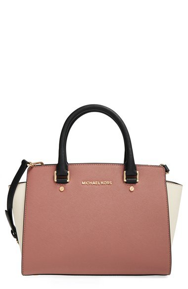 4b74926a872b ... dusty rose 89f2a 3d3d5 sweden lyst michael michael kors medium selma  tricolor leather satchel 91e47 21850 ...