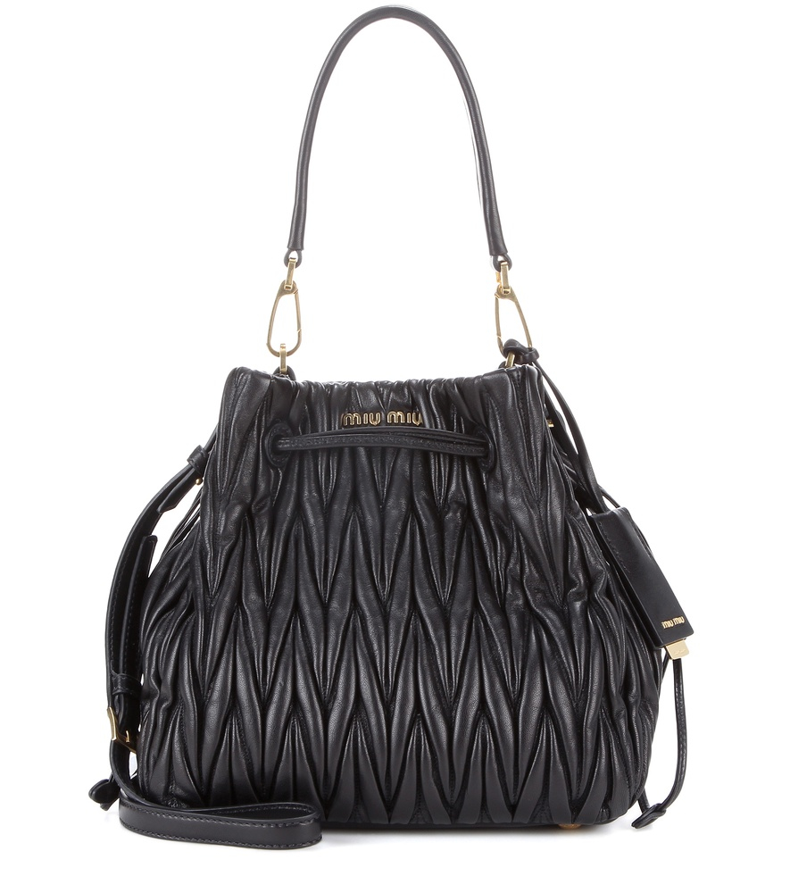 Miu miu Matelass¨¦ Leather Bucket Bag in Black  e96f9824f72e4