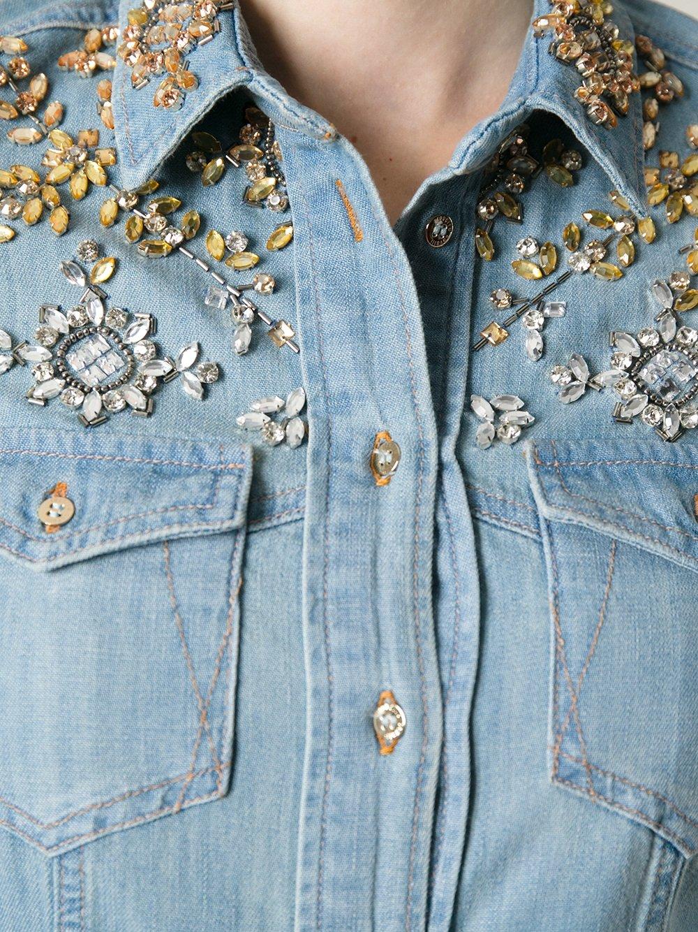 Lyst roberto cavalli crystal embellished denim shirt in blue for Women s embellished t shirts
