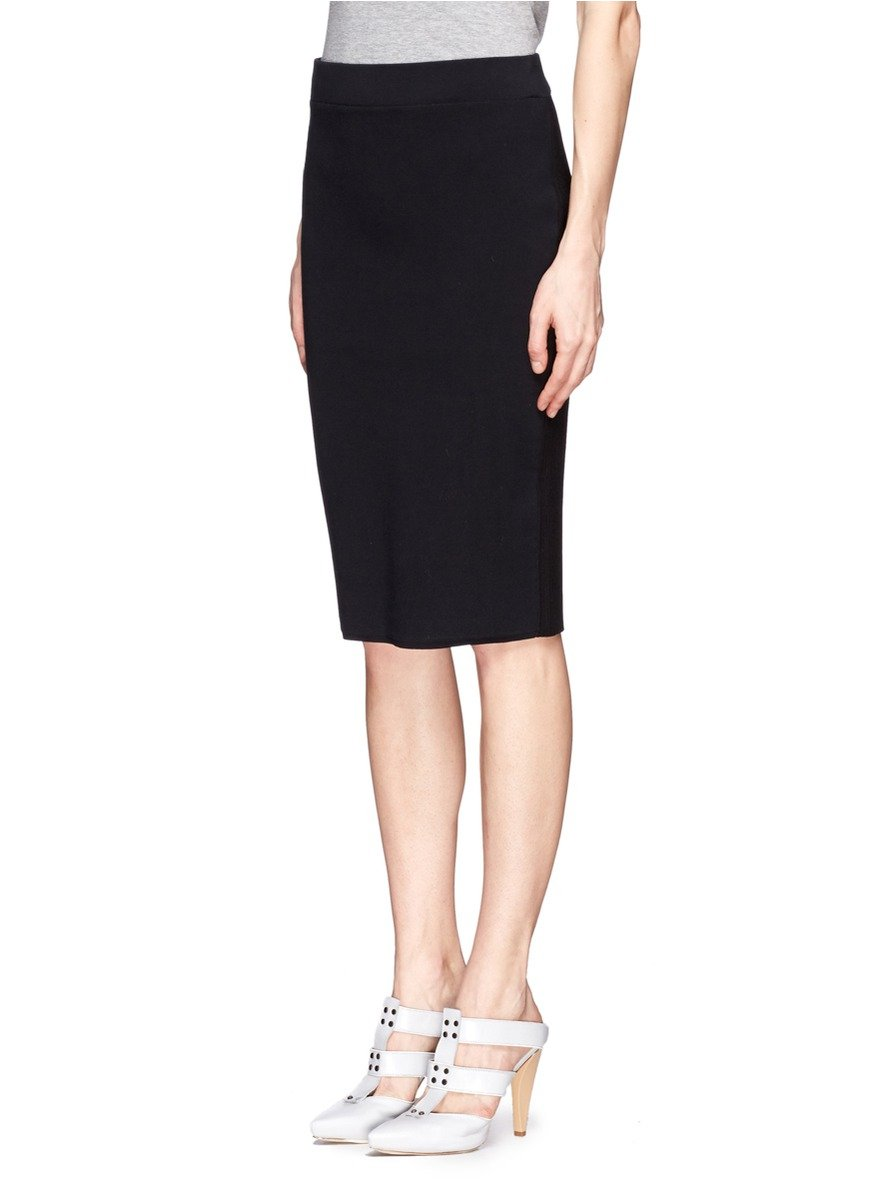 reed krakoff cotton panel pencil skirt in black lyst