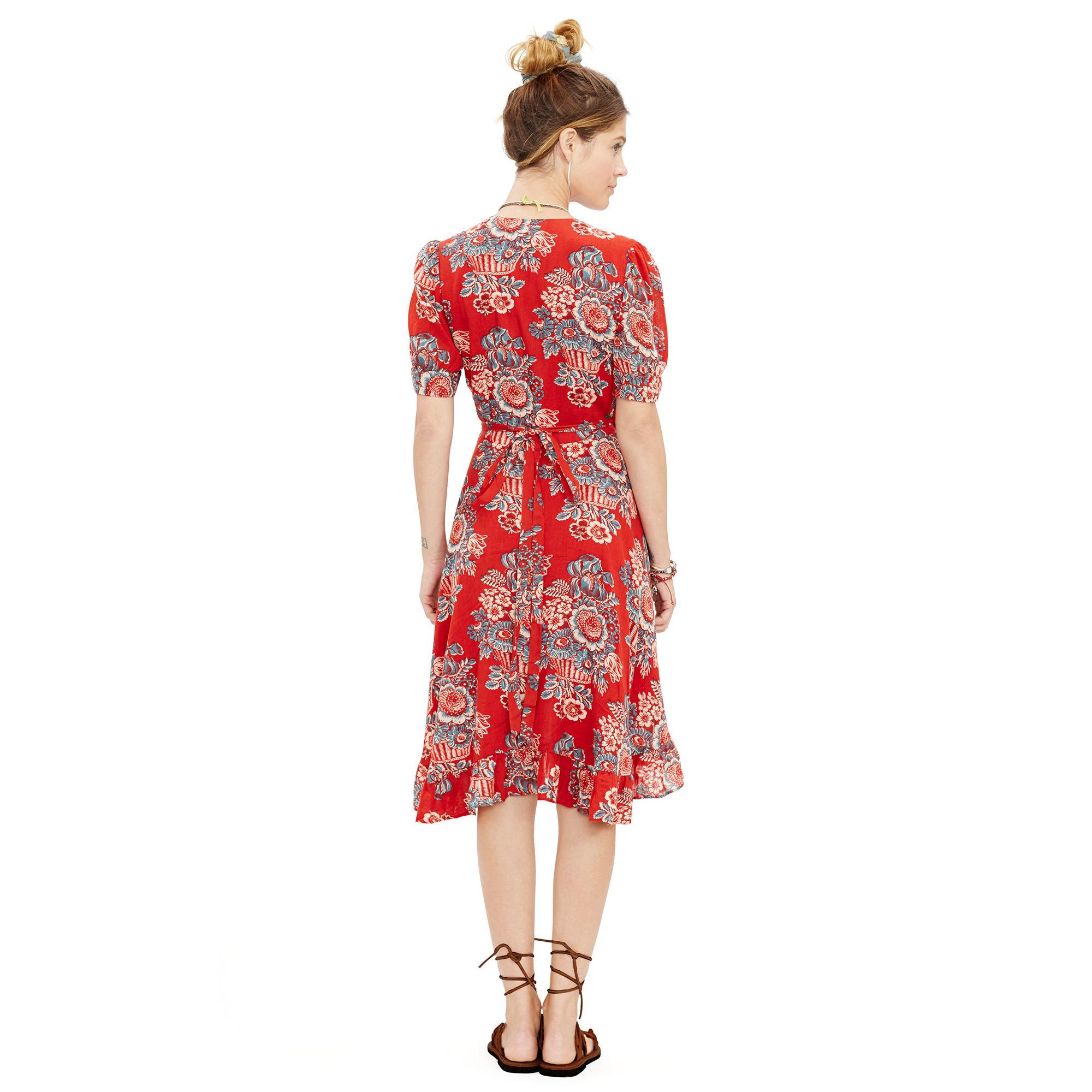 030bda23560 Denim   Supply Ralph Lauren Floral-print Gauze Wrap Dress in Red - Lyst