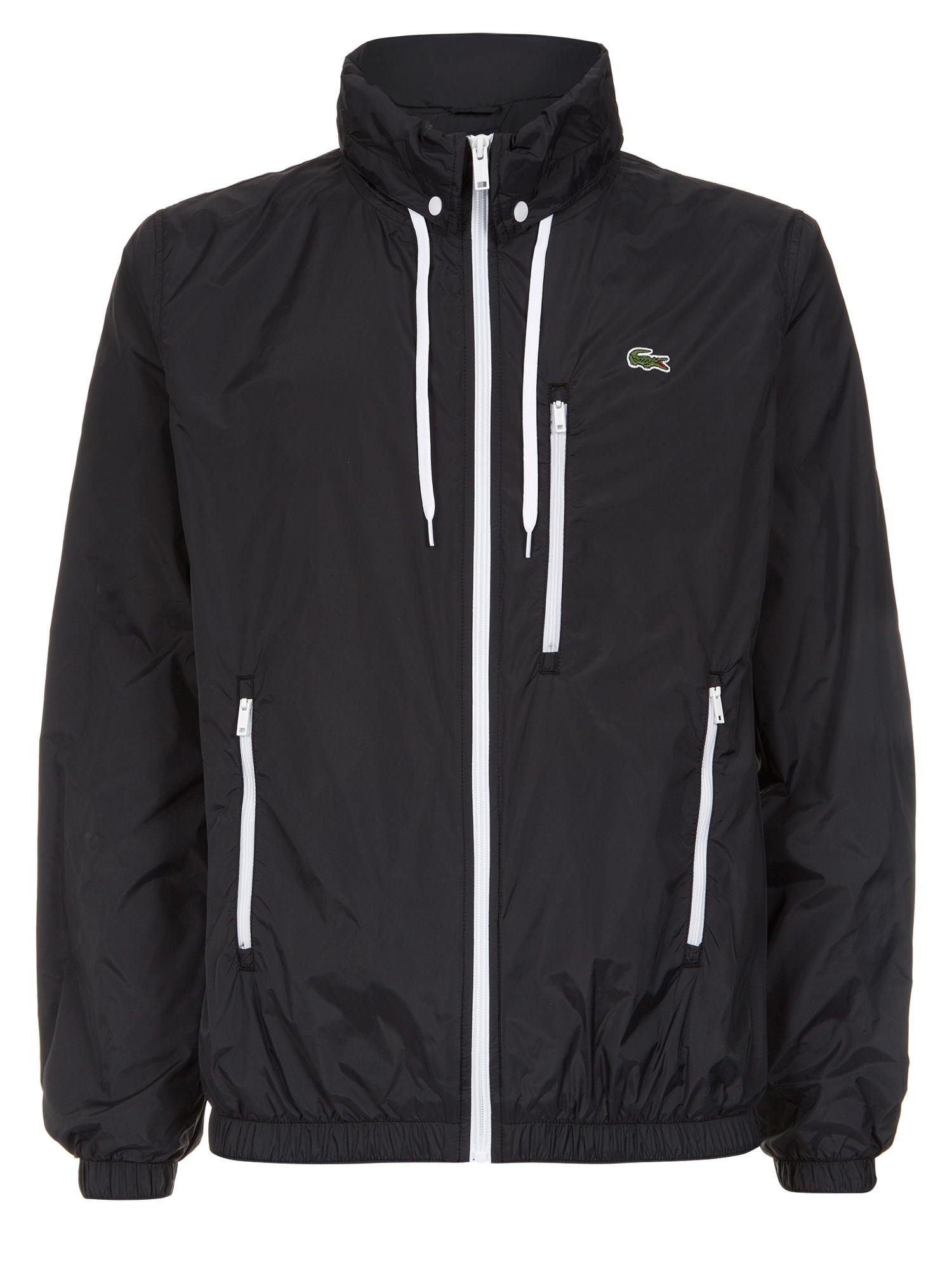 Lacoste Hooded Windbreaker Jacket in Black for Men | Lyst