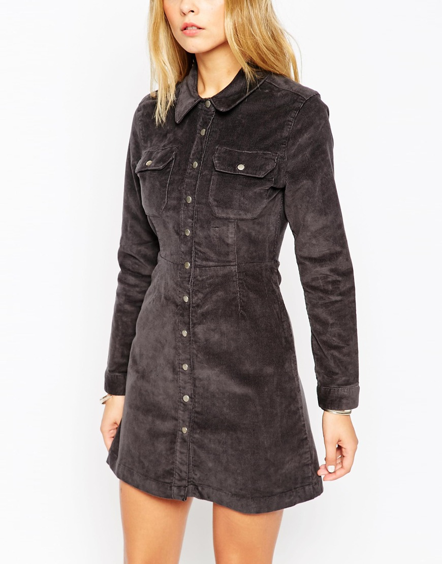 Lyst Asos Western Shirt Dress In Grey Cord In Gray