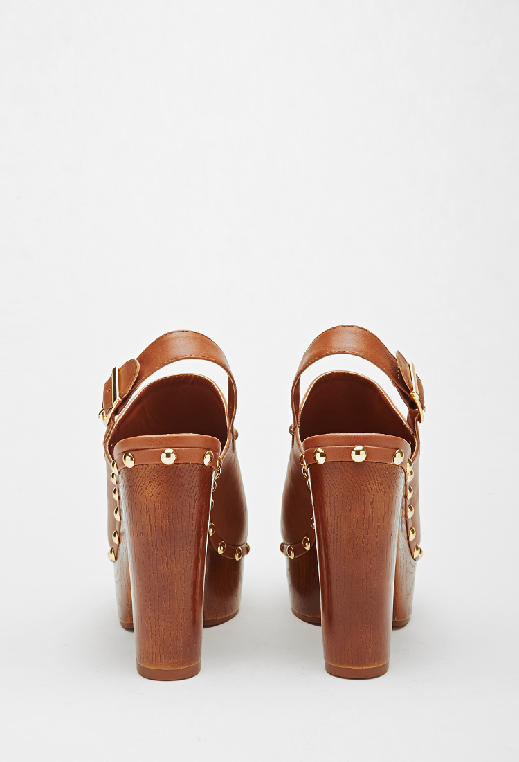 1f0f58049414f Forever 21 Faux Leather Platform Clog in Brown - Lyst