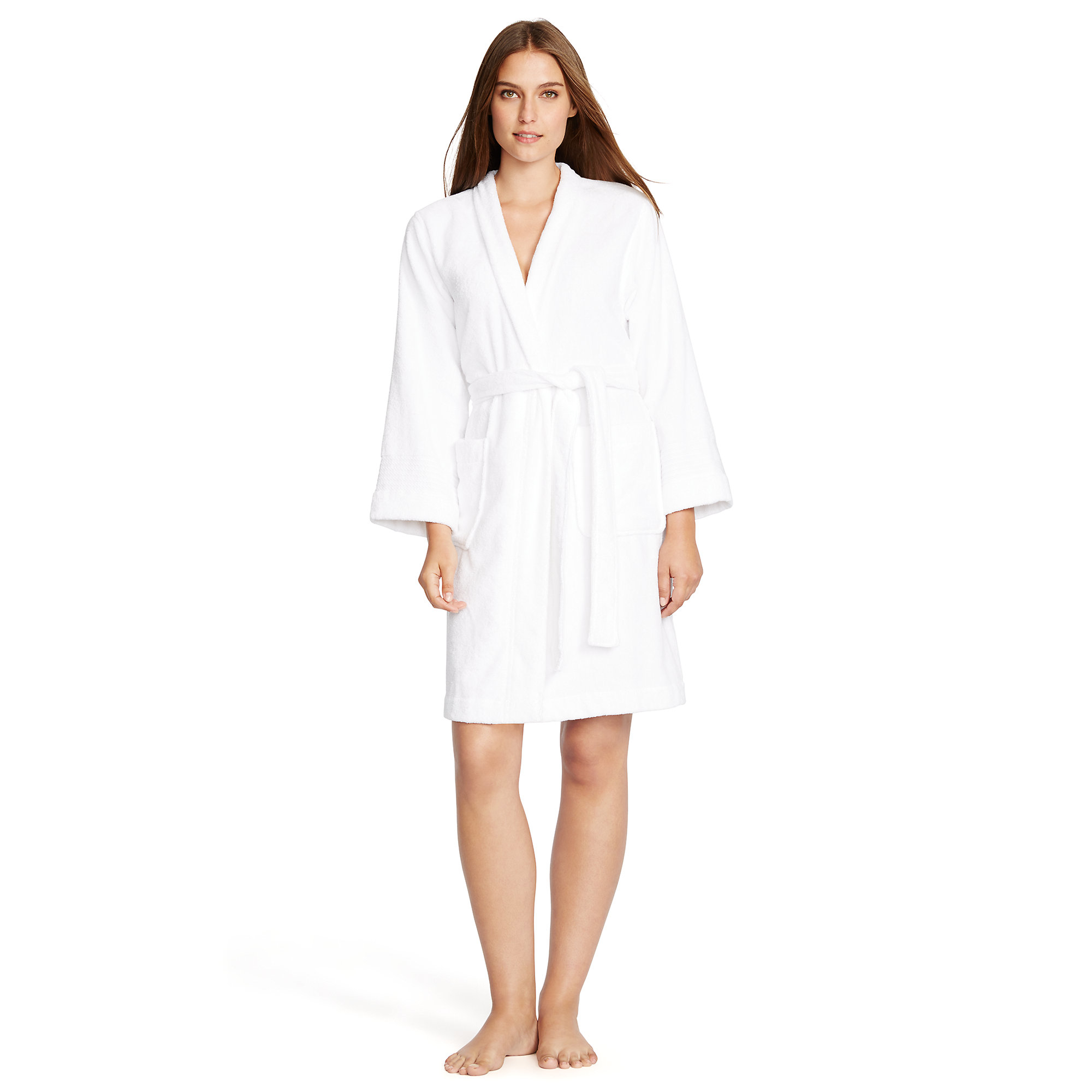 ralph lauren cotton terry robe in white lyst. Black Bedroom Furniture Sets. Home Design Ideas