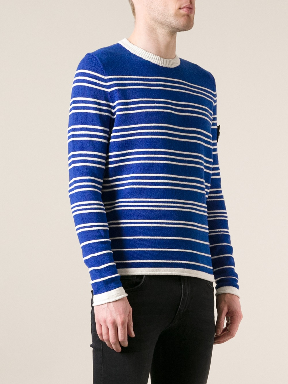 Stone island Striped Sweater in Blue for Men | Lyst