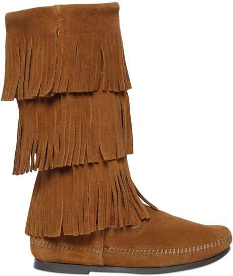 minnetonka layered fringe suede boots in brown lyst