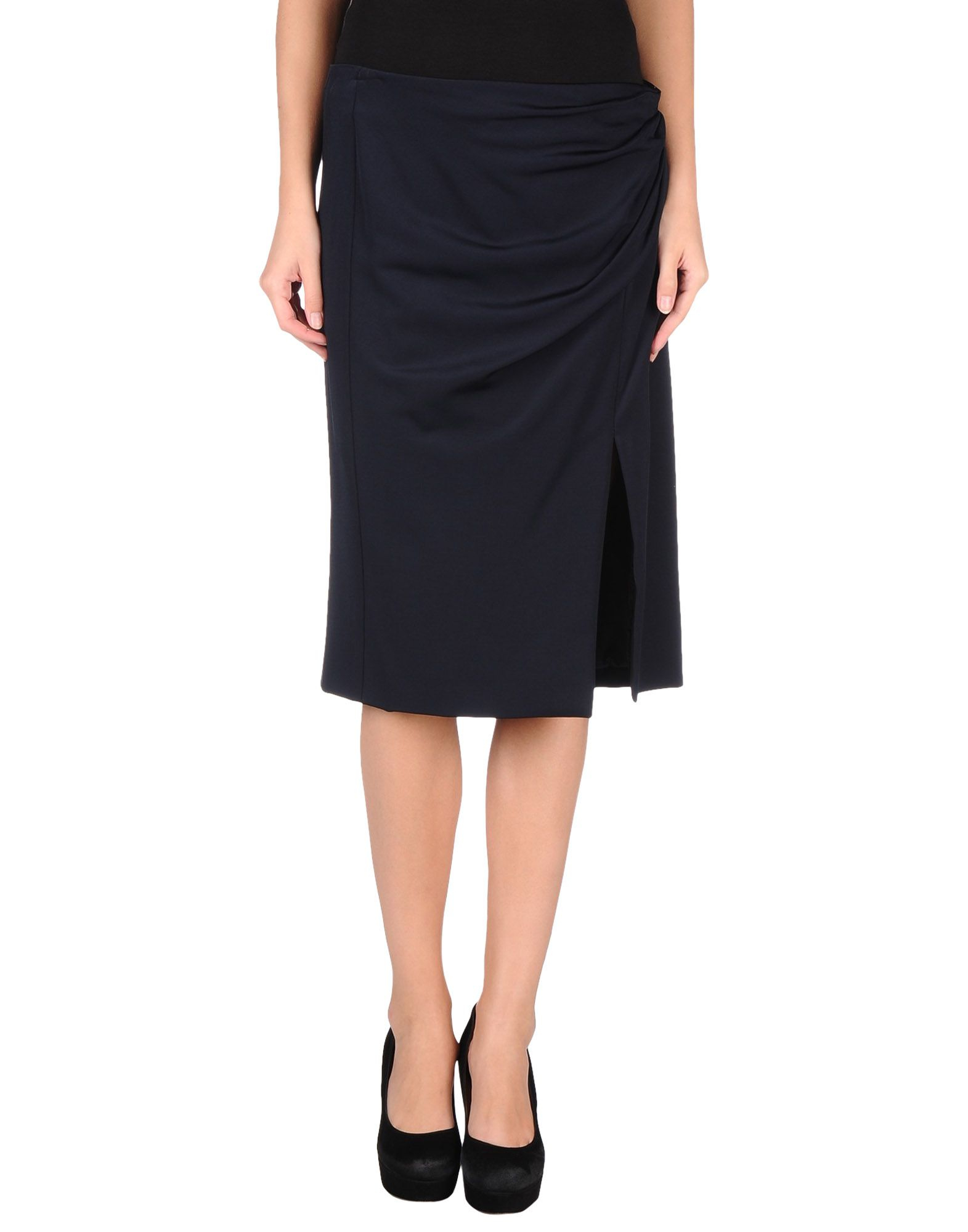 moschino knee length skirt in blue blue lyst