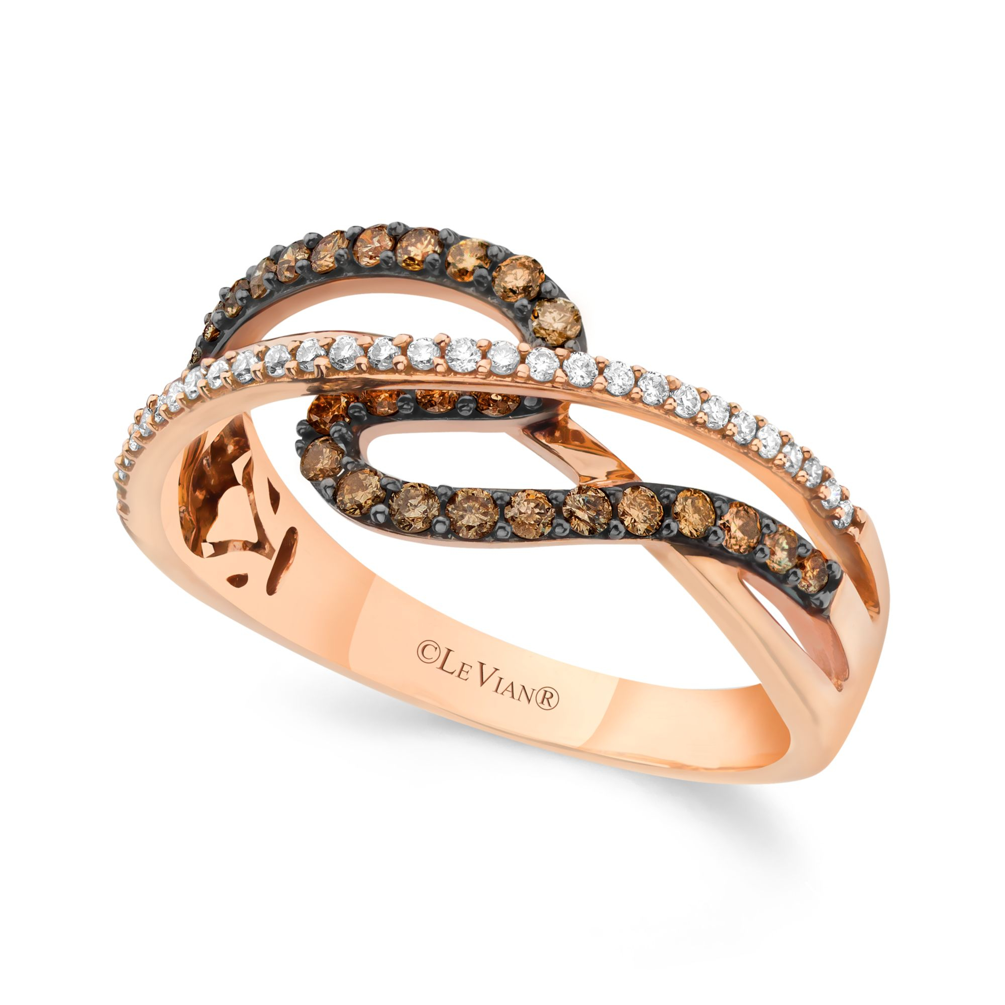 Le vian Chocolate And White Diamond 3 8 Ct T w Ring In 14k
