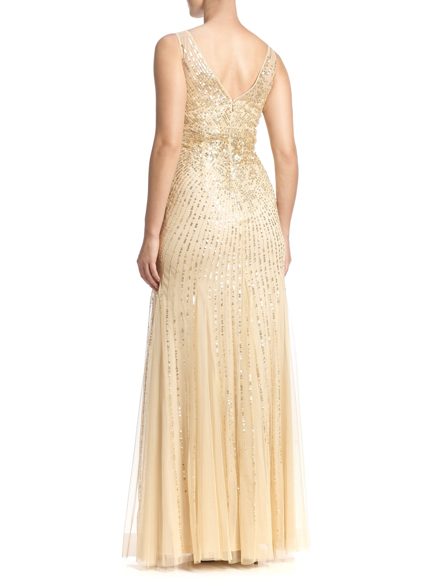 Lyst - Adrianna Papell Beaded Mesh Mermaid Gown in Metallic