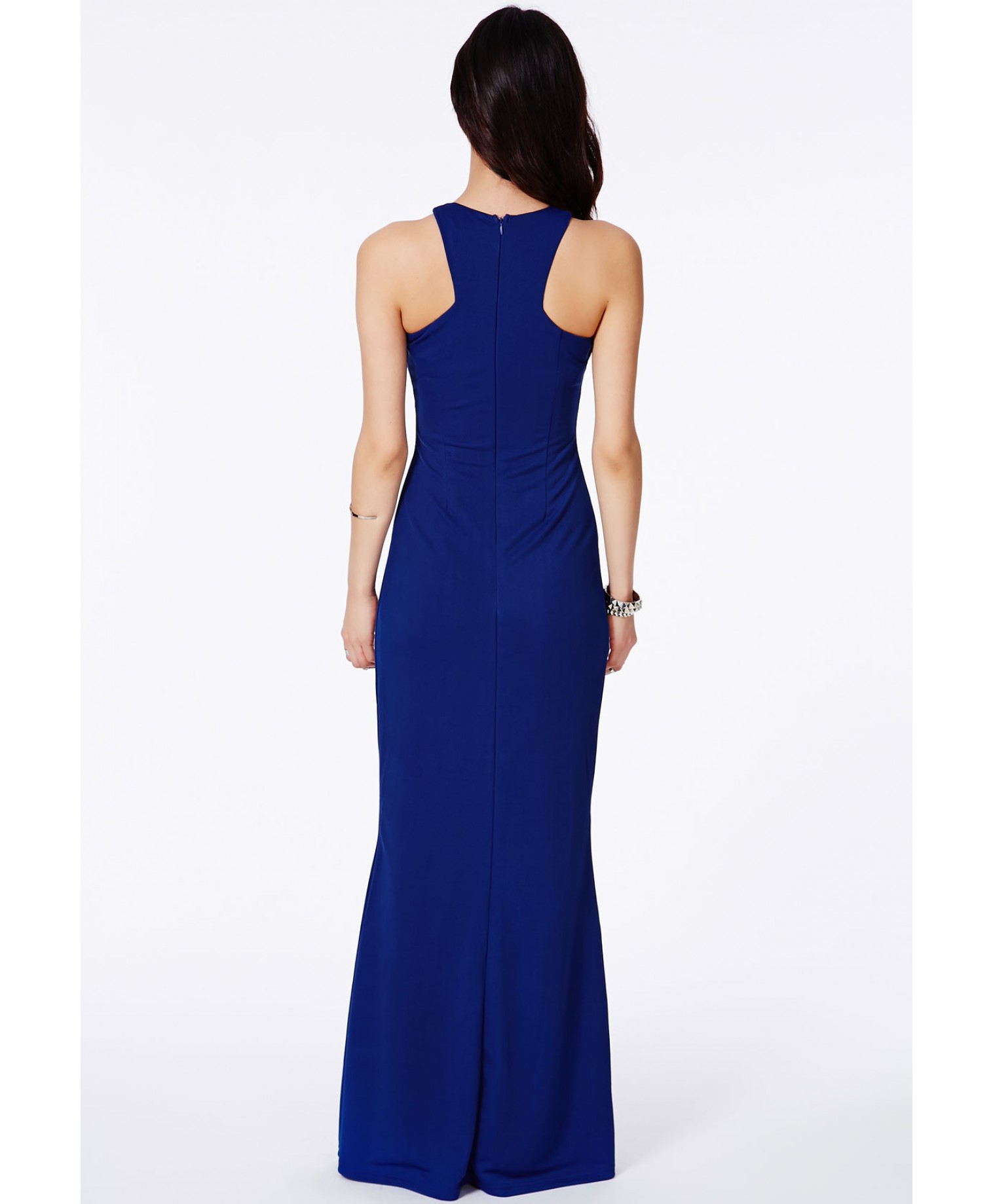 Missguided Kaisa Crepe High Neck Maxi Dress Cobalt in Blue ...