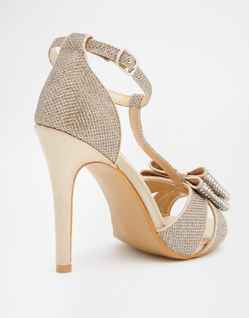 9a1f59e875b8cc Lyst - True Decadence Gold Glitter Bow Detail Heeled Sandals in Natural