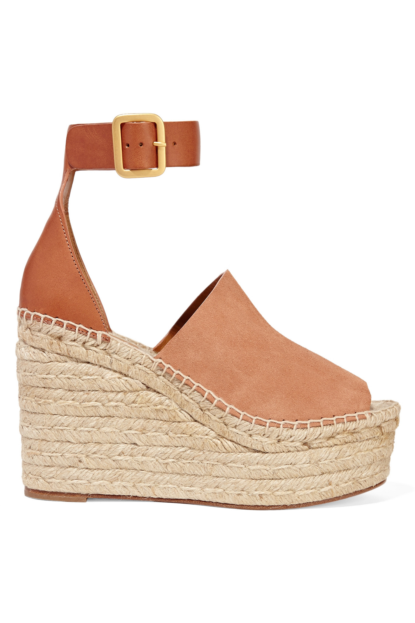 Lyst Chlo 233 Suede And Leather Espadrille Wedge Sandals
