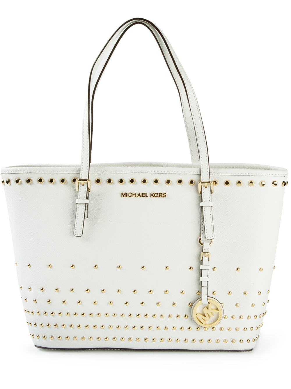 50c7708fe2cb ... usa lyst michael michael kors studded tote in white 25356 a444f