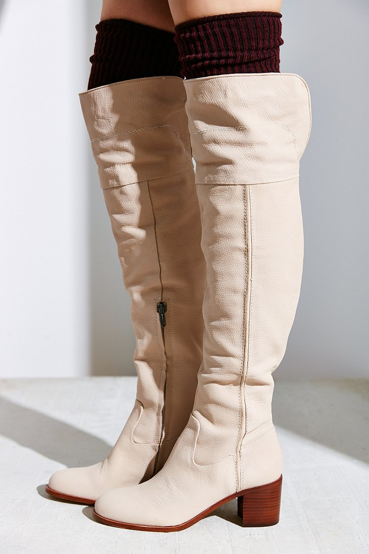 6d833dd56da Lyst - Sam Edelman Joplin Heeled Over-The-Knee Boot in Natural