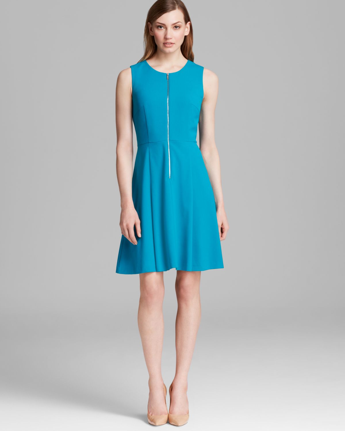 Lyst Calvin Klein Zip Front Fit And Flare Dress In Blue