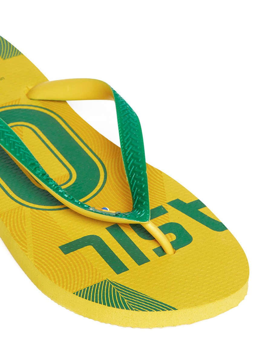 d0c841685ff Havaianas Teams Ii Brazil Flip-flops in Yellow for Men - Lyst