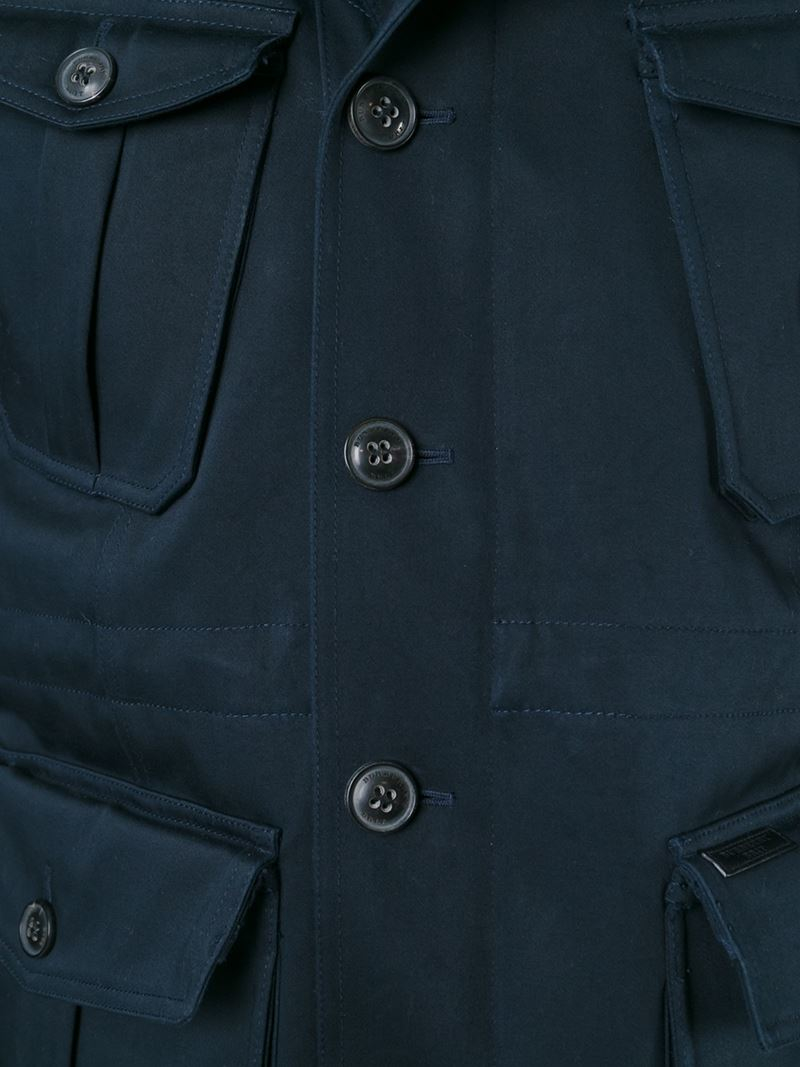 Burberry Funnel Neck Cargo Jacket in Blue for Men