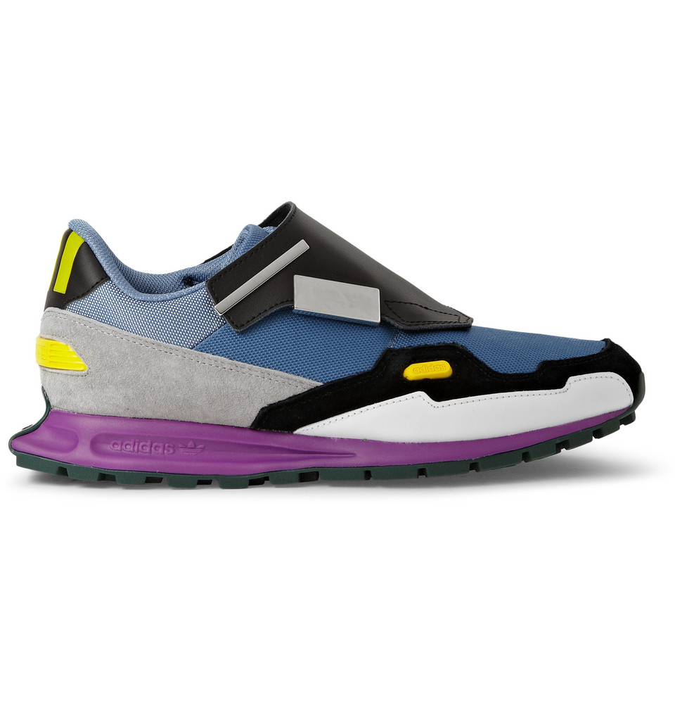 raf simons leather and mesh sneakers in multicolor for men. Black Bedroom Furniture Sets. Home Design Ideas