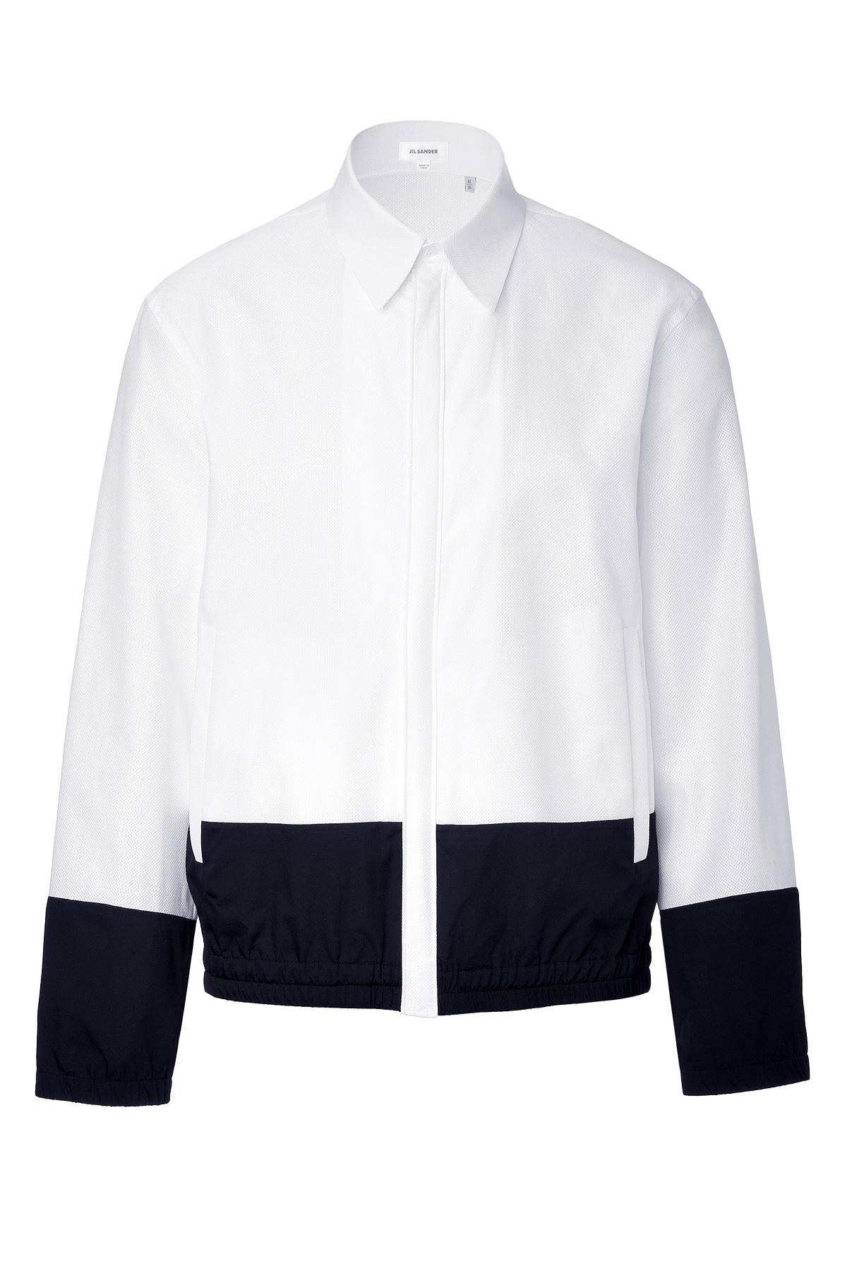Lyst jil sander cotton cometa shirt jacket white in for Jil sander mens shirt
