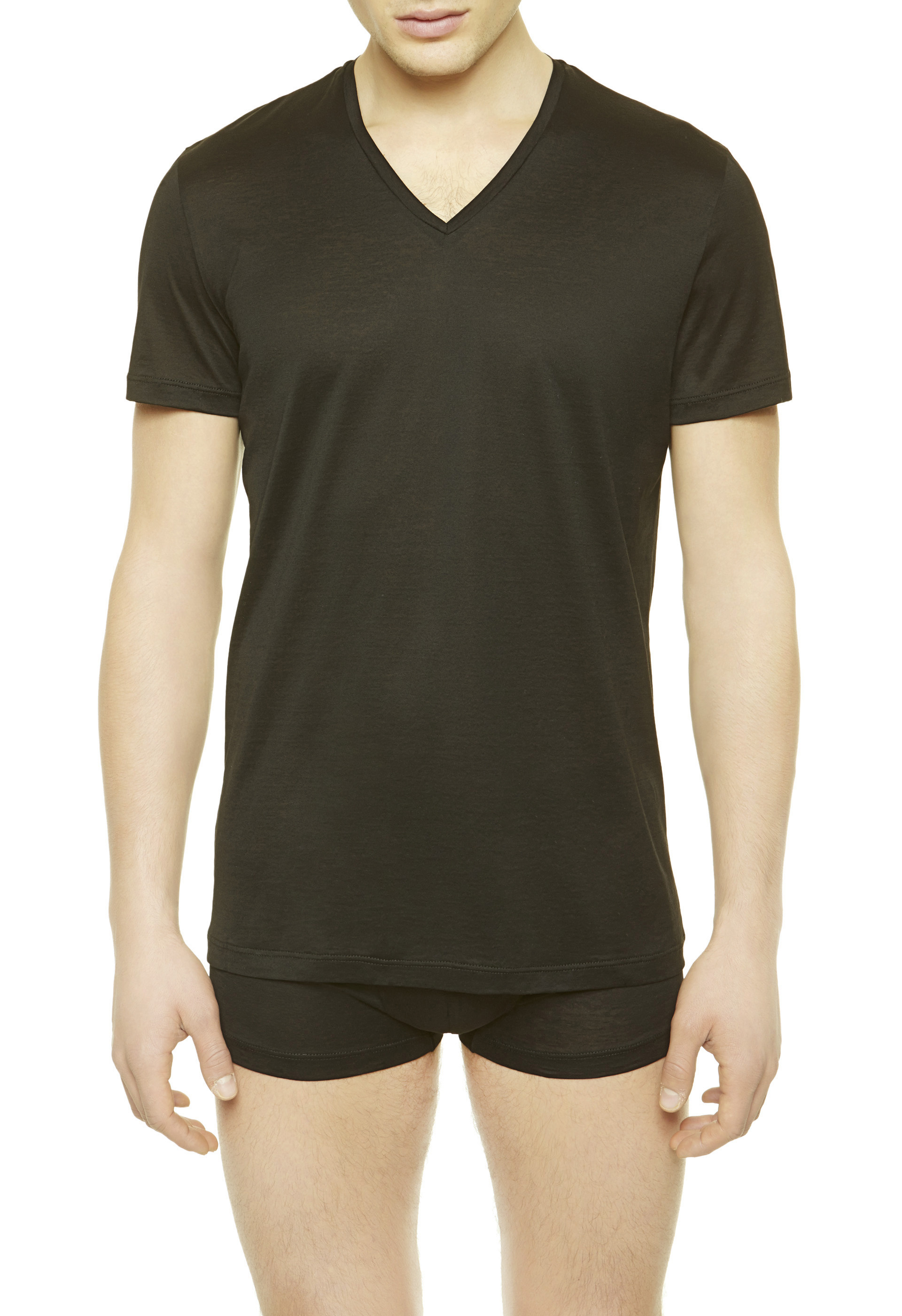 La perla v neck t shirt in black for men lyst V neck black t shirt