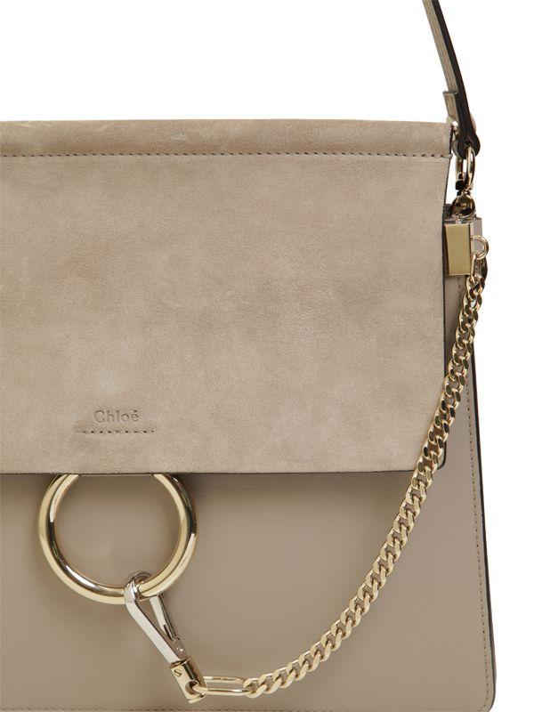 the best handbags - faye suede patchwork shoulder bag, gray - chloe