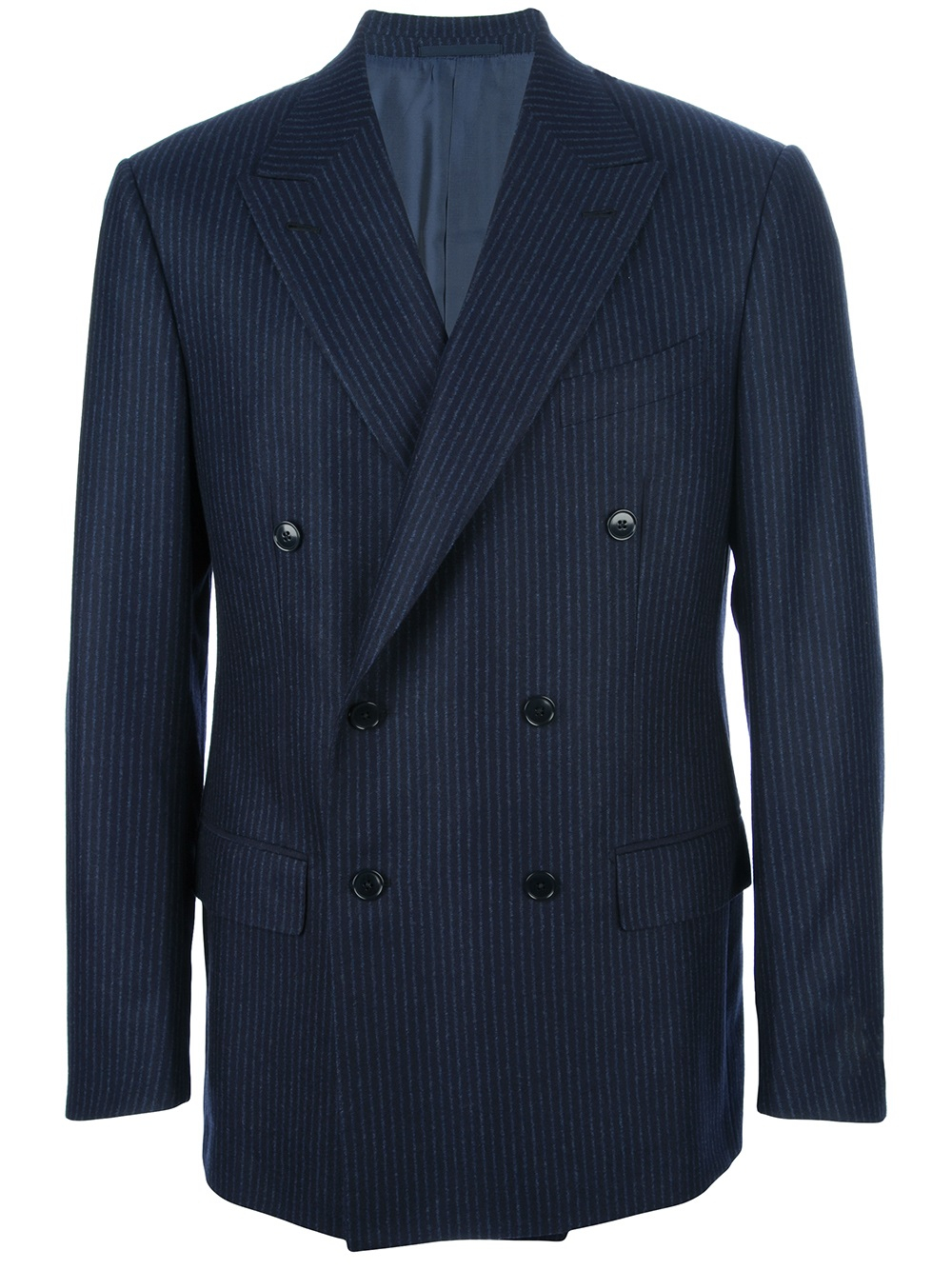 Ermenegildo zegna Double Breasted Pinstripe Suit in Blue for Men ...